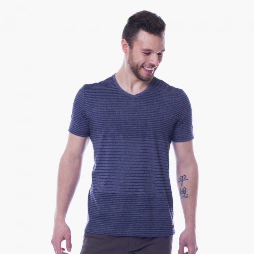 Camiseta Slim Masculina Manga Curta Gola V Listrada Mescla Azul