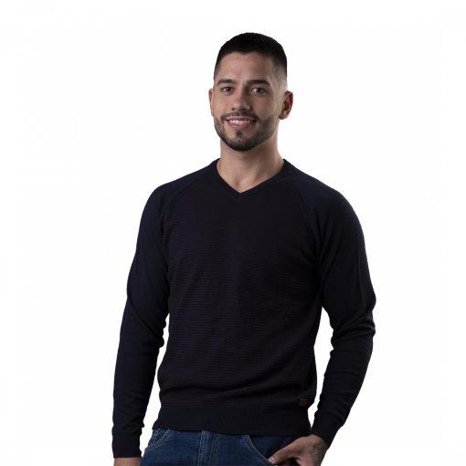 Suéter Slim Masculino Gola V Com Frente Trabalhada De Cor Marinho
