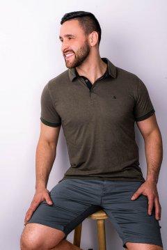 Imagem - Camiseta Polo modelagem Slim Com Plaquinha De Metal No Peito Gola Diferenciada cód: 105553314
