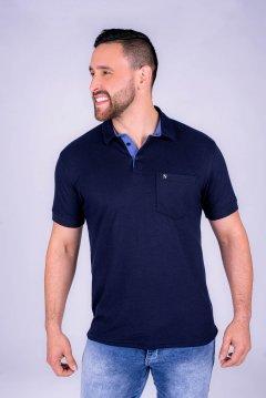 Imagem - Camiseta Polo modelagem Slim Com Plaquinha De Metal No Peito Gola Diferenciada cód: 10555316