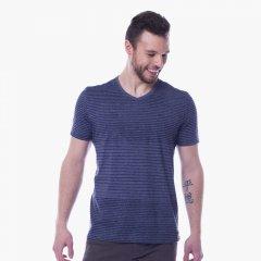 Imagem - Camiseta Slim Masculina Manga Curta Gola V Listrada Mescla Azul cód: 7709055925