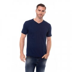 Imagem - Camiseta Slim Com Gola V De Cor Marinho cód: 7707021076