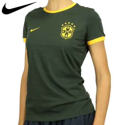 Camiseta Nike Seleção Brasil Core Ring Feminino Verde Escuro Amarelo
