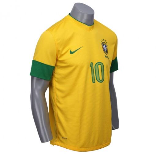Camisa Nike Seleção Brasil I 2012 Torcedor  Com Número 10 Manga Curta   447933-703