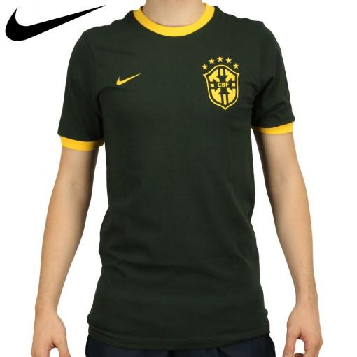 Camiseta Nike Seleção Brasil Core Ring Masculino Verde Escuro Amarelo