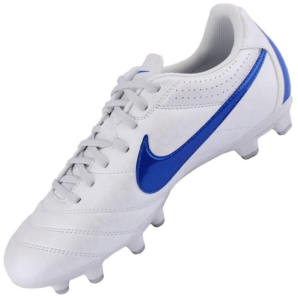 8ded8d7226ef5 Chuteira Campo Nike Tiempo Natural 4 FG Masculino Branco Azul 454318-140