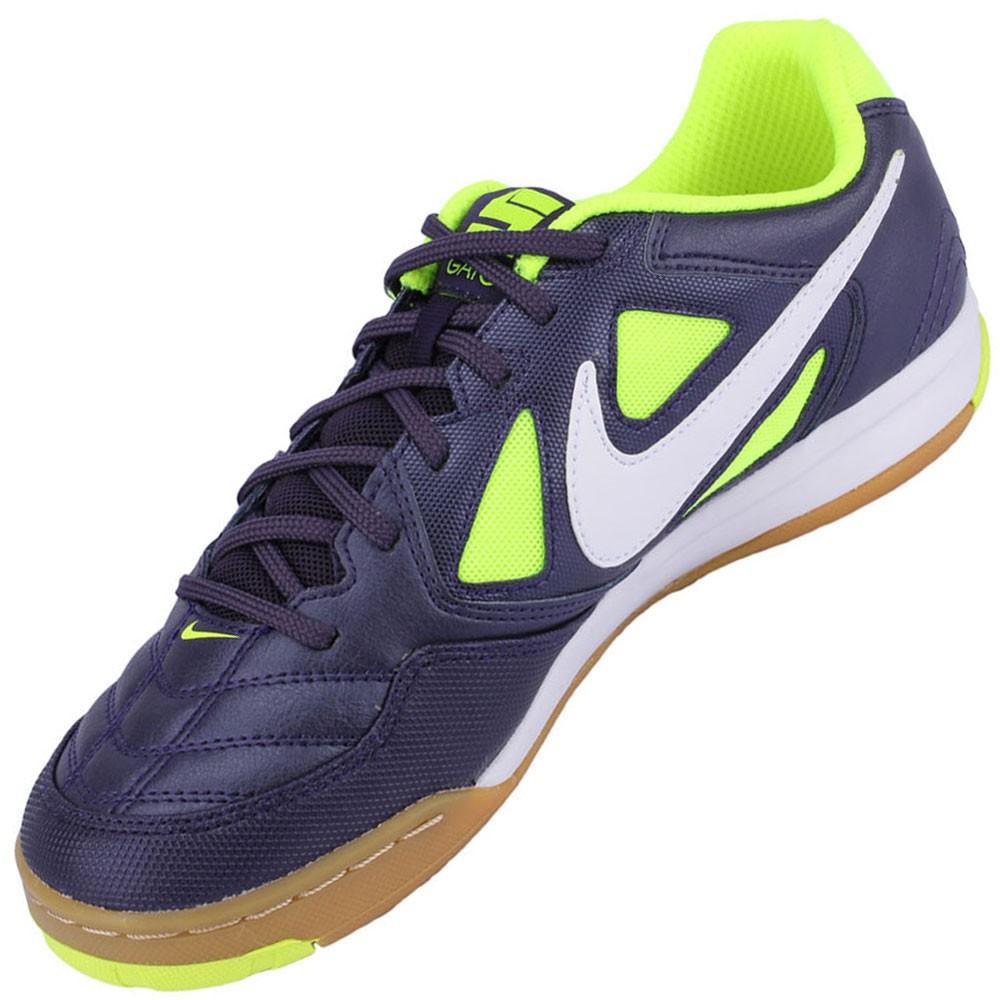 77fd3a7ecf Chuteira Futsal Nike 5 Gato Juvenil Roxo Verde limÆo Branco 441715-517