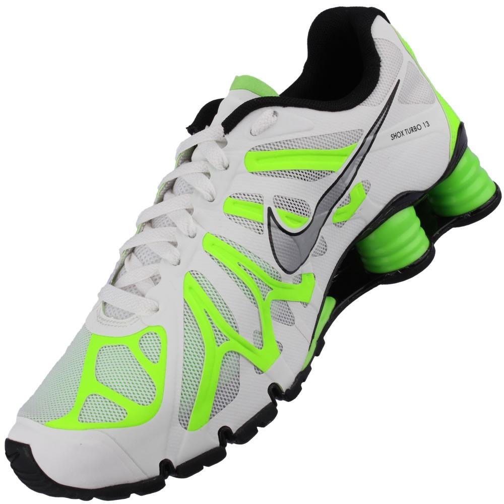 newest cad5e 6b346 Tênis Nike Shox Turbo+ 13 Masculino Branco Preto Verde Fluorescente  525155-103