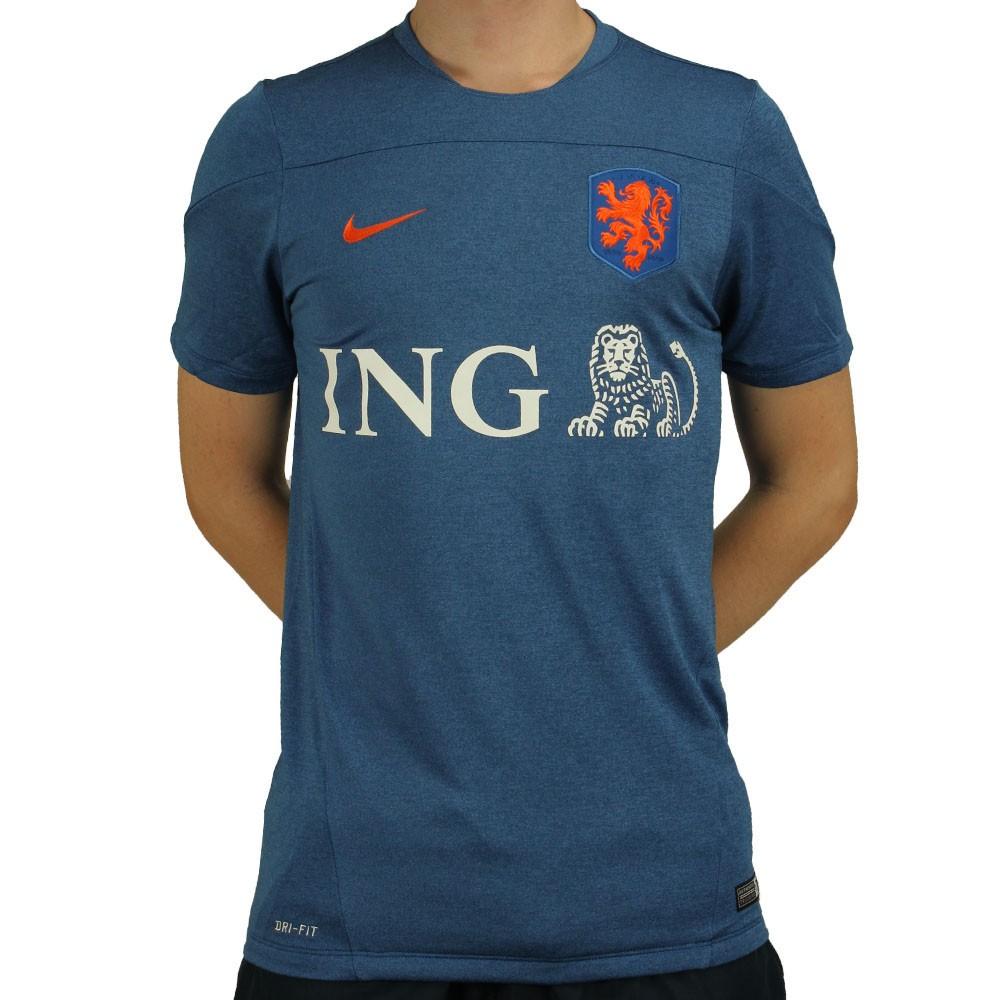 Camisa Nike Seleção Holanda Treino 2014 Masculino Azul Laranja 09d556198103f