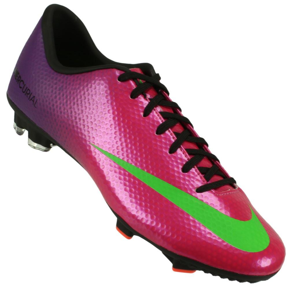 Chuteira Campo Nike Mercurial Victory 4 FG Masculino Pink Roxo Verde ... 43f001c2438e7