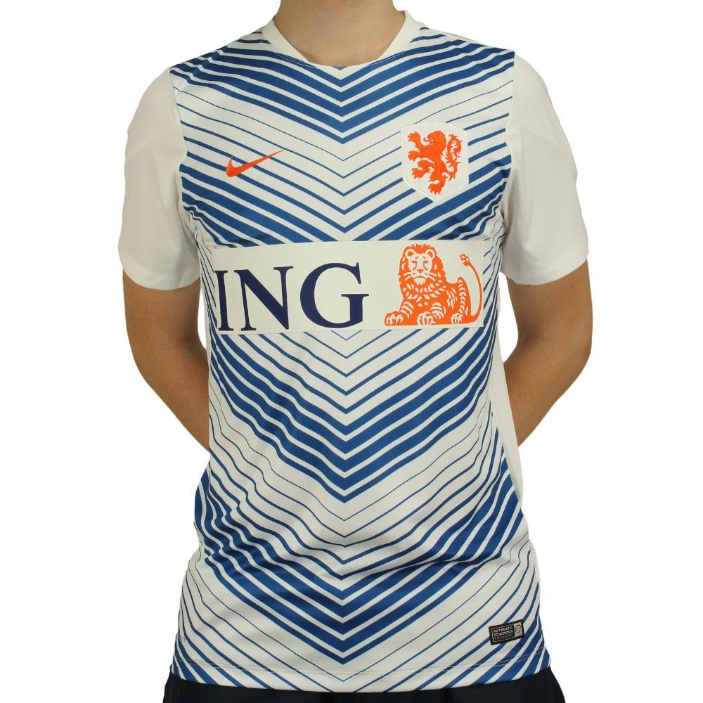 Camisa Nike Seleção Holanda Pre Match 2014 Masculino Branco Azul Laranja 9640f9dacd626