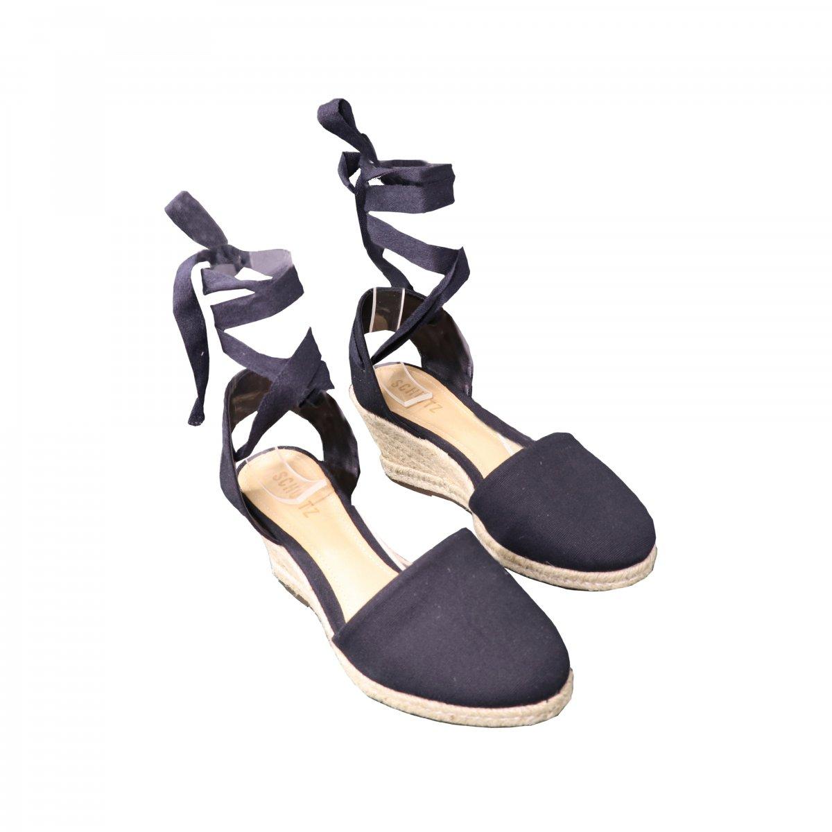 845fe7f74 Sandália Anabela Espadrille Black Schutz | G&Co Shoes