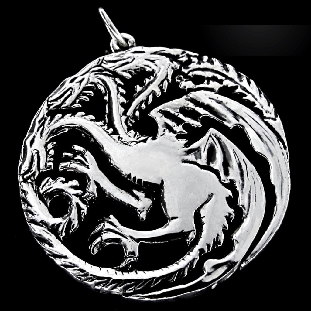 Pingente House of Targaryen - Game of Thrones - Folheado a Prata