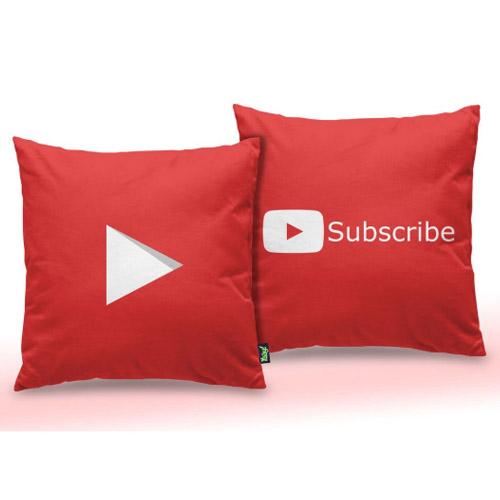 Almofada Play Button Subscribe YT Vermelha