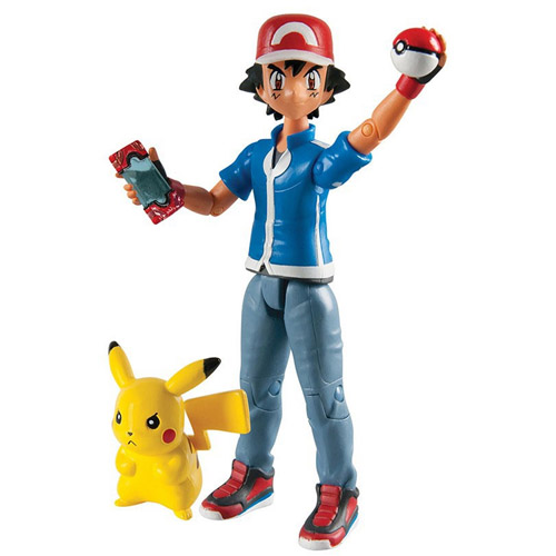Ash e Pikachu com Pokebola e Pokedex - Action Figure Pokemon