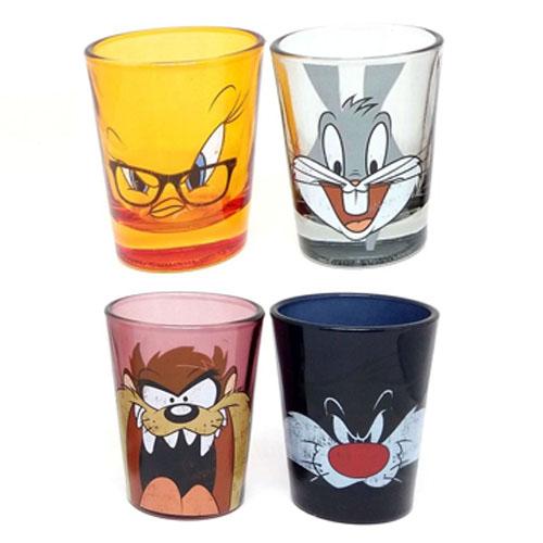 Copos Shot Pernalonga  Taz Frajola e Piu-Piu (Set com 4) - Looney Tunes