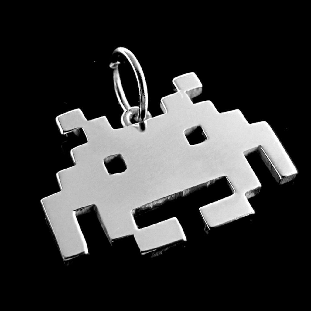 Pingente - Space Invaders -  Folheado a Prata