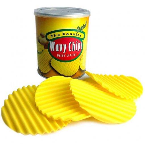 Porta-Copos Batatinhas Wavy Chips em Silicone - Set com 4