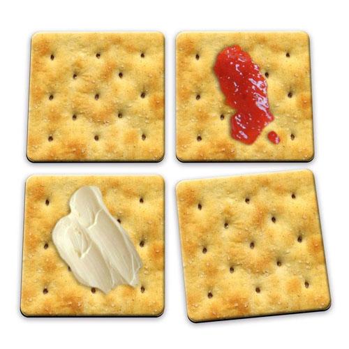 Porta-Copos Bolacha / Biscoito Cracker - Set com 4