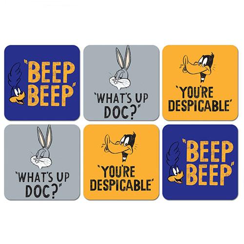 Porta-Copos Looney Tunes - Frases - Set com 6