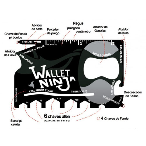 Wallet Ninja - Cartão Gadget Multifuncional 18 em 1