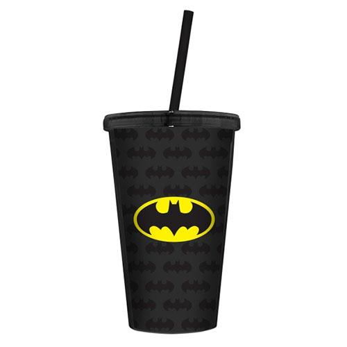 Imagem - Copo com Canudo Batman Logo - DC Comics cód: GA104