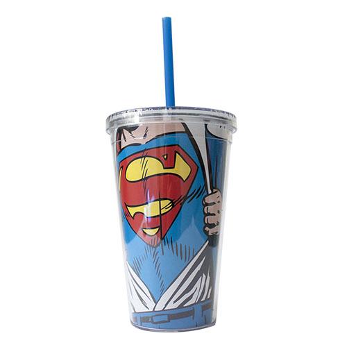 Imagem - Copo com Canudo Super-Homem / Superman - DC Comics cód: GA92