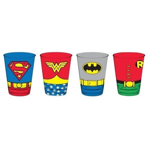 Imagem - Copos de Vidro Superman Mulher Maravilha  Batman e Robin - Body (Set com 4) - DC Comics cód: GA126