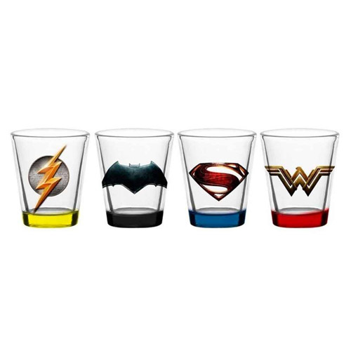Imagem - Copos Shot Liga da Justiça / Justice League – Batman  Flash  Superman Wonder Woman (Set com 4) - DC Comics cód: GA139
