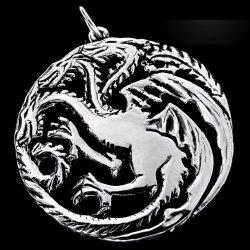 Imagem - Pingente Dragão House Targaryen Game of Thrones - Folheado Prata cód: SP40