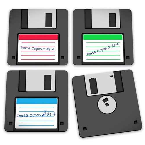 Imagem - Porta-Copos Disquete - Floppy Disk - Set com 4 cód: GA81