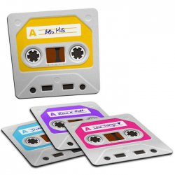 Imagem - Porta-Copos Fitas Cassete - Set com 4 cód: GA149