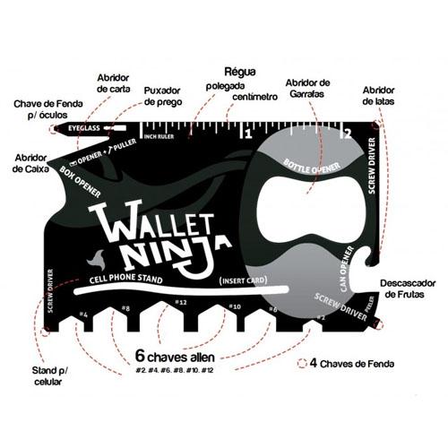 Imagem - Wallet Ninja - Cartão Gadget Multifuncional 18 em 1 cód: AF18