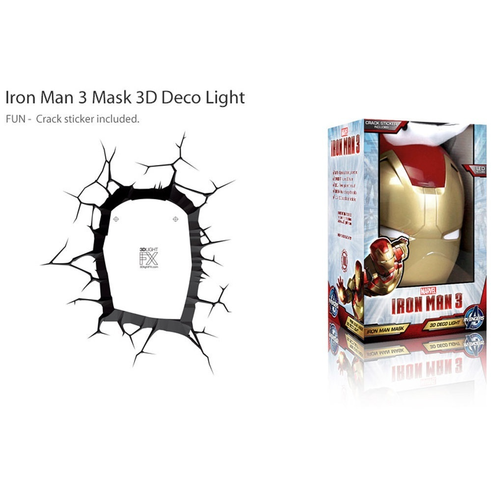 Máscara do Homem de Ferro / Iron Man - Luminária 3D Light FX Avengers 3