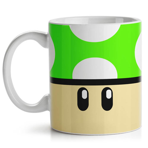 Caneca Gamer - Cogumelo Verde 1-UP