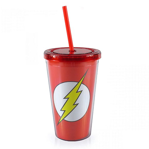 Copo com Canudo Flash Logo - DC Comics