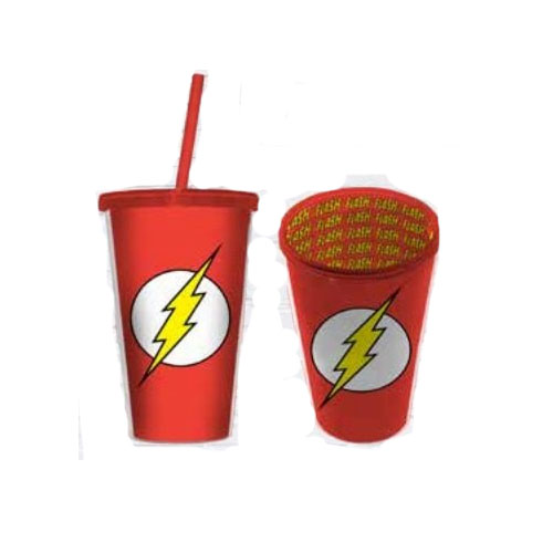 Copo com Canudo Flash Logo - DC Comics 3