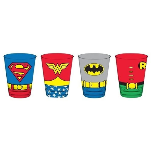 Copos de Vidro Superman Mulher Maravilha  Batman e Robin - Body (Set com 4) - DC Comics