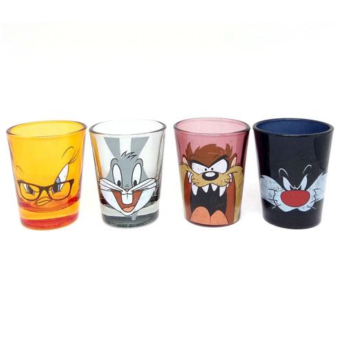 Copos Shot Pernalonga  Taz Frajola e Piu-Piu (Set com 4) - Looney Tunes 2