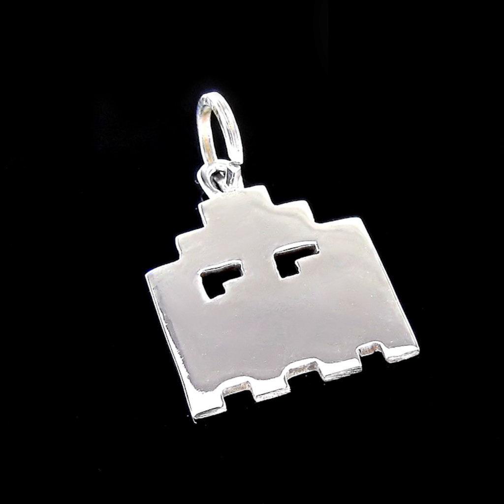 Pingente Fantasma Pac-Man -  Folheado a Prata