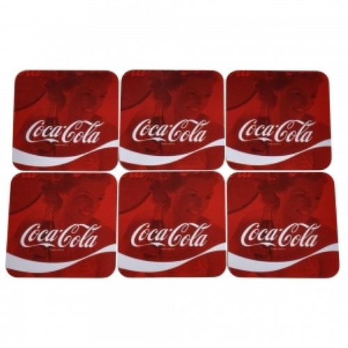 Porta-Copos Coca-Cola - Wave Logo Quadrado - Set com 6 4
