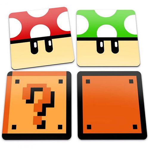 Porta-Copos Mario - Cogumelos e Blocos - Set com 4
