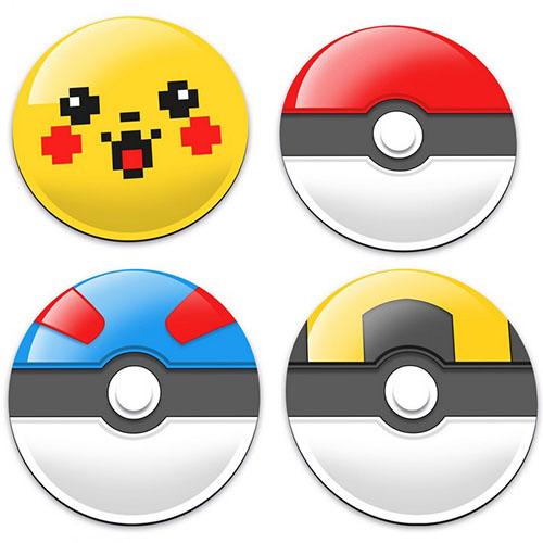 Porta-Copos Pokeball Pokemon - Set com 4