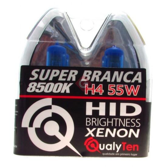 PAR DE LÂMPADAS H4 55 WATS SUPER BRANCA - QH4