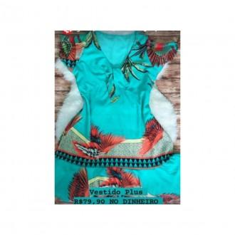 Imagem - Vestido Plus Viscose Estampado