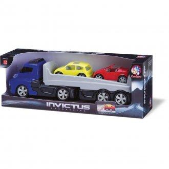 Imagem - Caminhão Cegonha Com 2 Carros Invictus 1043 - Cardoso Toys