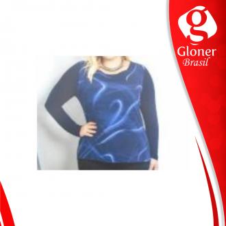 Imagem -  Blusa azul manga longa C60423-Cativa