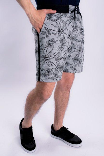 Imagem - Bermuda Moletom Masculina Estampada Tropical
