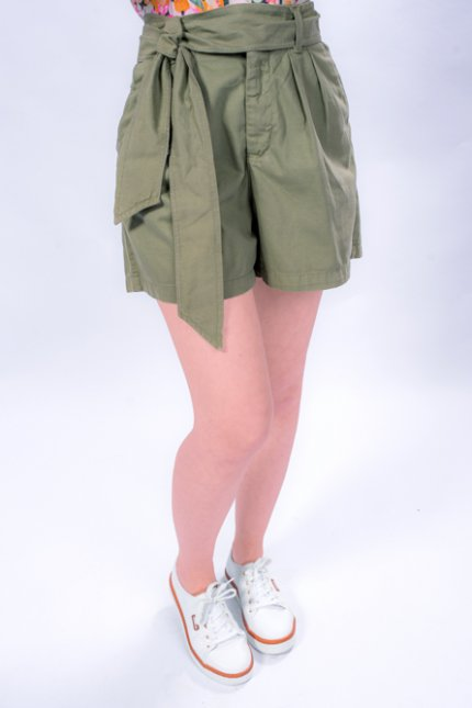 Imagem - Bermuda Sarja Feminina Cintura Alta com Cinto
