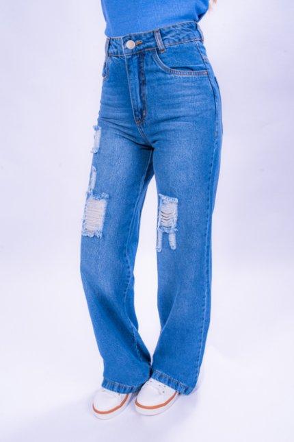 Imagem - Calça Jeans Feminina Wide Leg Destroyed